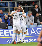 David Clarkson is congratulated after scoring by Craig Wighton and Martin Boyle after scoring on his Dundee debut - Ross County v Dundee, SPFL Premiership at the Global Energy Stadium, Dingwall<br /> <br />  - &copy; David Young - www.davidyoungphoto.co.uk - email: davidyoungphoto@gmail.com