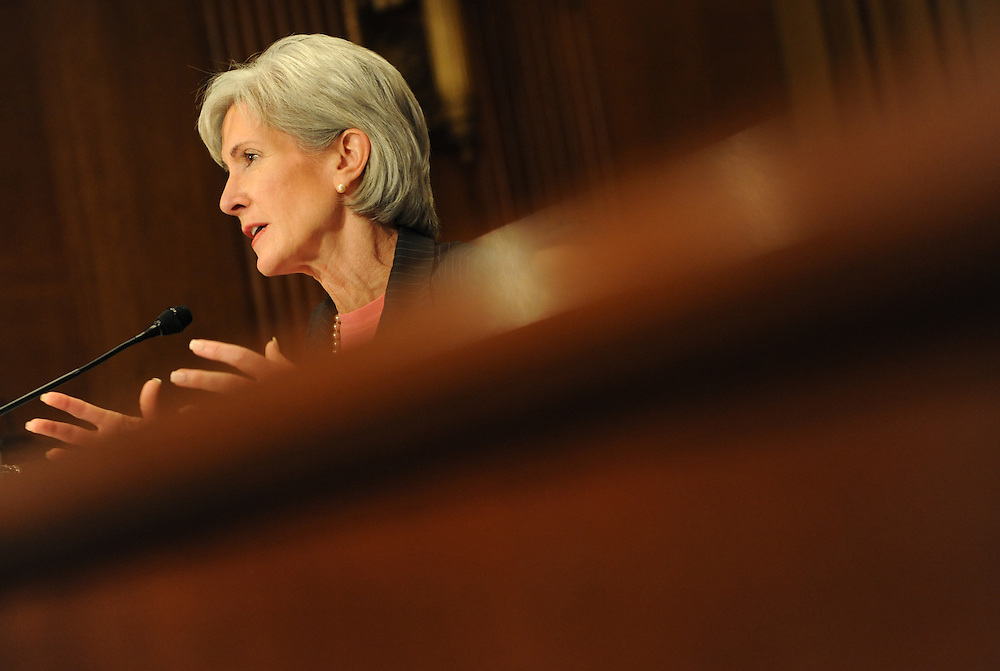 Washington, D.C.- Kathleen Sebelius, secretary of Health and Human Services, testifies before the Senate Finance Committee about President Obama's health care proposals on Feb. 3, 2009. (Amanda Lucidon).