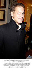 LORD FREDERICK WINDSOR at a party in London on 3rd October 2002.PDT 216
