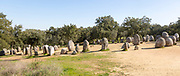 Neolothic stone circle of granite boulders,   Cromeleque dos Almendres, Evora district, Alentejo, Portugal, southern Europe