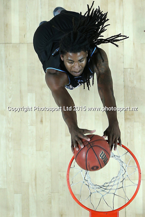 Breakers` Charles Jackson scores a basket in an ANBL Basketball Match, New Zealand Breakers v Perth Wildcats, Vector Arena, Auckland, New Zealand, Friday, November 13, 2015. Copyright photo: David Rowland / www.photosport.nz