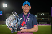 Eoin Morgan with the Royal London One Day International Series Trophy after beating the Windies 4-0 during the One Day International match between England and West Indies at the Ageas Bowl, Southampton, United Kingdom on 29 September 2017. Photo by Dave Vokes.