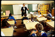 David Schlamb plays Abe Lincoln for fifth graders in his storytelling class; St. Louis. Missouri