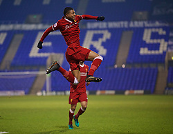 BIRKENHEAD, ENGLAND - Tuesday, December 19, 2017: Liverpool's Rhian Brewster celebrates scoring the first goal during the Under-23 FA Premier League International Cup Group A match between Liverpool and PSV Eindhoven at Prenton Park. (Pic by David Rawcliffe/Propaganda)
