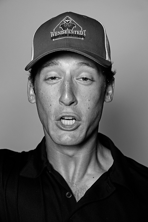 DAYTONA BEACH, FL - FEBRUARY 2, 2016:  Portraits of umpires calling a strike at the Harry Wendelstedt Umpire School in Daytona Beach, Fla.: Reed Basner, 21, (instructor, minor league ump) of Atlanta Ga. (Photo by Melissa Lyttle)