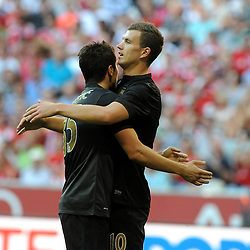 31.07.2013, Allianz Arena, Muenchen, Audi Cup 2013, Manchester City vs AC Milan, im Bild, Freude bei Stevan JOVETIC (Manchester City) und Edin DZEKO (Manchester City) nach dessen zweitem Tor // during the Audi Cup 2013 match between Manchester City and AC Milan at the Allianz Arena, Munich, Germany on 2013/07/31. EXPA Pictures © 2013, PhotoCredit: EXPA/ Eibner/ Wolfgang Stuetzle<br /> <br /> ***** ATTENTION - OUT OF GER *****