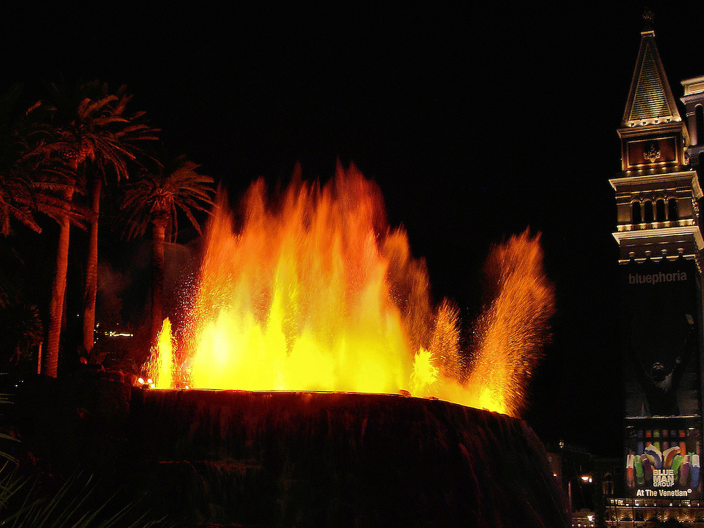 The Mirage Hotel Erupting Volcano in Las Vegas, Nevada <br />