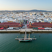 Aerial view of Olhao downtown and Market, waterfront to Ria Formosa natural park. Algarve. Portugal.