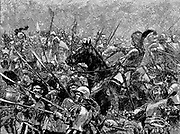 Battle of Stoke, 16 June 1487. German mercenaries under Martin Schwarz making their last stand against the stronger and more disciplined forces of the king. English longbows with steel-tipped arrows outshot crossbows of the Germans which took far longer to load. Engraving c1885.