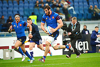 Essai Yoann MAESTRI - 15.03.2015 - Rugby - Italie / France - Tournoi des VI Nations -Rome<br /> Photo : David Winter / Icon Sport