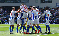 BRIGHTON, ENGLAND - MAY 12:    Glenn Murray (17) of Brighton and Hove Albion is mobbed after he scores a goal to give a 1-0 lead to the home team  during the Premier League match between Brighton & Hove Albion and Manchester City at American Express Community Stadium on May 12, 2019 in Brighton, United Kingdom. (MB Media)