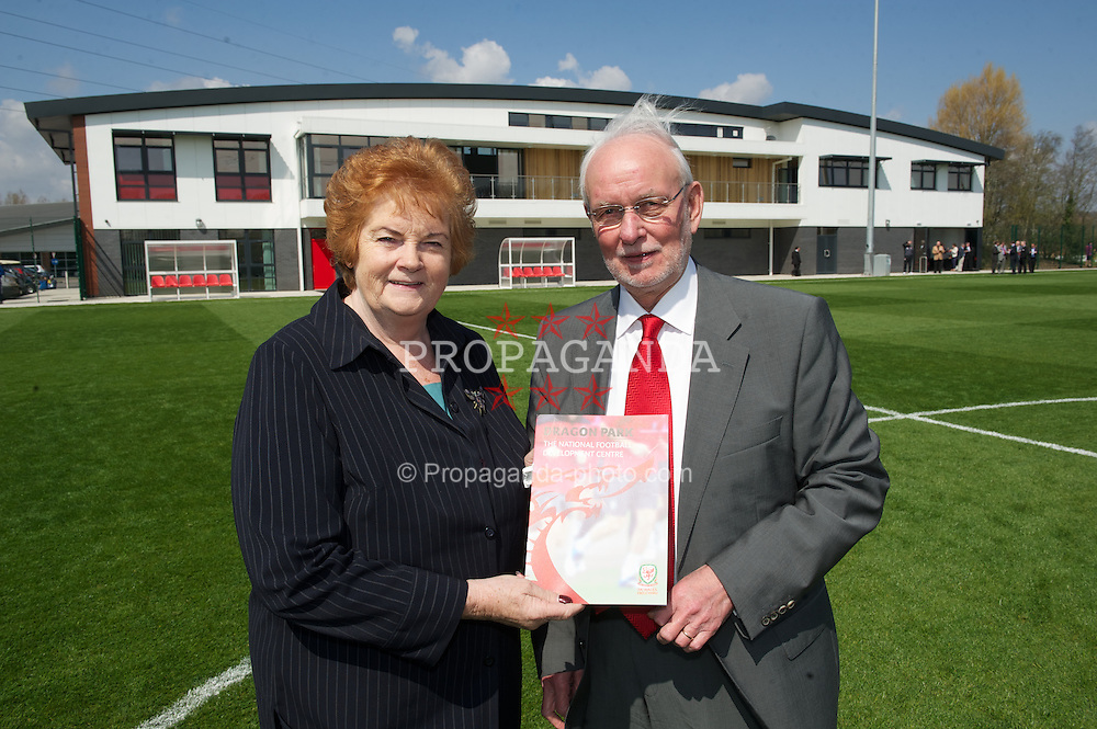NEWPORT, WALES - Saturday, April 20, 2013: Rosemary Butler (Presiding Officer of the National Assembly for Wales) and Bob Bright (Leader of Newport Council) at the opening of the FAW National Development Centre in Newport. (Pic by David Rawcliffe/Propaganda)