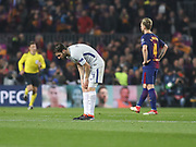 Chelsea's Cesc Fabregas disappointed during Champions League match between Barcelona and Chelsea at Camp Nou, Barcelona, Spain on 14 March 2018. Picture by Ahmad Morra.
