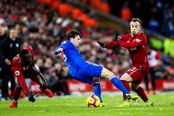 Ben Chilwell of Leicester City is fouled by Naby Keita and Xherdan Shaqiri of Liverpool - Mandatory by-line: Robbie Stephenson/JMP - 30/01/2019 - FOOTBALL - Anfield - Liverpool, England - Liverpool v Leicester City - Premier League