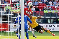 ALKMAAR - 30-08-2015, AZ - Roda JC, AFAS Stadion, 0-1, Roda JC keeper Benjamin Van Leer  (l), Roda JC speler Ard Van Peppen (r), AZ speler Markus Henriksen (m).