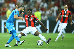 August 22, 2017 - Nice, France - Else Hysaj of Napoli and Allan Saint-Maximin of Nice  during the UEFA Champions League Qualifying Play-Offs round, second leg match, between OGC Nice and SSC Napoli at Allianz Riviera Stadium on August 22, 2017 in Nice, France. (Credit Image: © Matteo Ciambelli/NurPhoto via ZUMA Press)