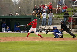 15 February 2007: Kyle O'Brien fouls off a pitch.  Indiana State Sycamores gave up the first game of the double-header by a score of 16-6 to the Illinois State Redbirds at Redbird Field on the campus of Illinois State University in Normal Illinois.