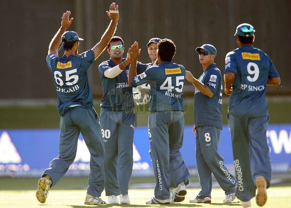 PORT ELIZABETH, SOUTH AFRICA - 02 May 2009. The Chargers celebrate the wicket of Shane Warne during the  IPL Season 2 match between the Deccan Chargers and the Rajatshan Royals held at St Georges Park in Port Elizabeth , South Africa..