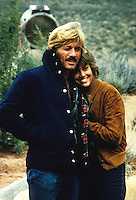 Robert Redford and Jane Fonda on the set of The Electric Horseman in 1979,