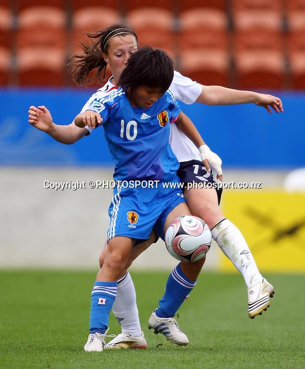 Mana Iwabuchi gets past Lucy Bronze.<br />FIFA U17 Women's World Cup, England v Japan, Waikato Stadium, Hamilton, New Zealand, Sunday 9 November 2008. Photo: Renee McKay/PHOTOSPORT