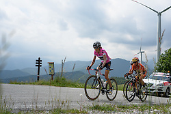 Mara Abbott leads a group of three including Evelyn Stevens and Kasia Niewiadoma over the highest climb of the day at Giro Rosa 2016 - Stage 6. A 118.6 km road race from Andora to Alassio, Italy on July 7th 2016.