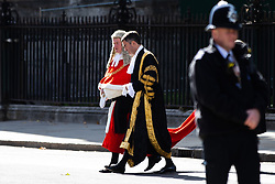 © Licensed to London News Pictures. 01/10/2018. London, UK. Lord Chancellor and Secretary of State for Justice David Gauke (centre) attends The Judges Service in Westminster Abbey, to mark the start of the legal year. The service dates back to the Middle Ages, and is attended by Justices of the Supreme Court, Judges and members of the legal profession. Photo credit : Tom Nicholson/LNP