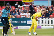 Ellyse Perry bowling during the Royal London Women's One Day International match between England Women Cricket and Australia at the Fischer County Ground, Grace Road, Leicester, United Kingdom on 2 July 2019.