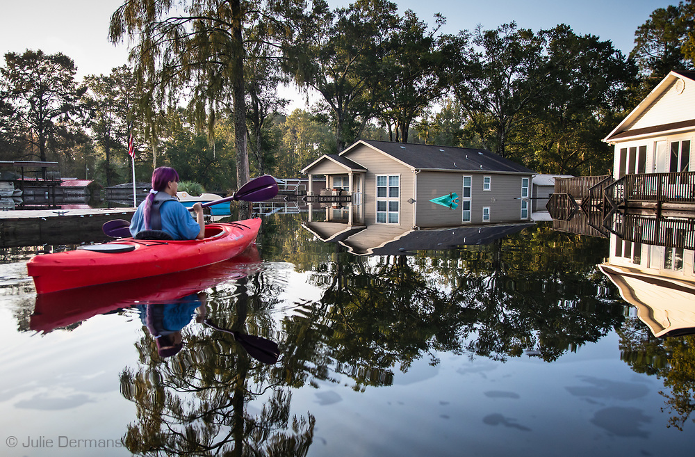 Jane Ochsenbein kayaking in Hurricane Florence's floodwaters in Socastee, South Carolina.