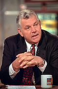 Conservative author and leader of Empower America, William Bennett, comments on President Clinton's legacy during NBC's Meet the Press March 8, 1998 in Washington, DC.