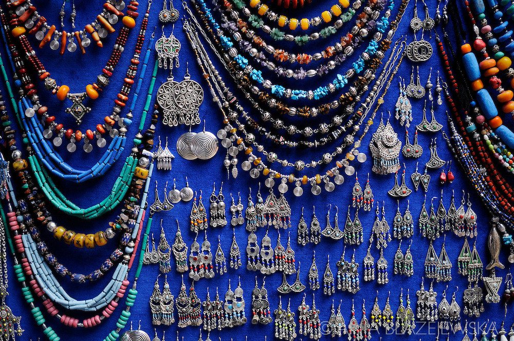 Morocco, Marrakesh. Typical moroccan bijouterie in one of the shops in the souk.