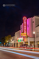 Seminole Theater at night in Florida City, Florida, USA