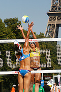 Tuesday June 17th 2008. Paris, France.Swatch FIVB World Tour - Henkel Grand Chelem...A international Beach Volley Competition takes place for a week on the Champ de Mars in Paris.