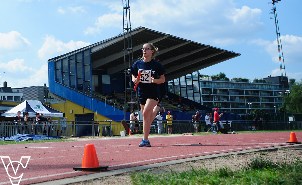 Metro Blind Sport's 2017 Athletics Open held at Mile End Stadium.  4x100m relay. Rebecca Blakey<br /> <br /> Picture: Chris Vaughan Photography for Metro Blind Sport<br /> Date: June 17, 2017