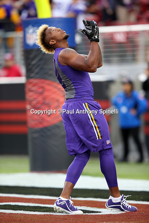 Minnesota Vikings wide receiver Charles Johnson (12) catches a pregame pass while warming up before the 2015 NFL week 1 regular season football game against the San Francisco 49ers on Monday, Sept. 14, 2015 in Santa Clara, Calif. The 49ers won the game 20-3. (©Paul Anthony Spinelli)