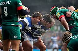 The Bath front row prepare to scrummage - Photo mandatory by-line: Patrick Khachfe/JMP - Mobile: 07966 386802 04/01/2015 - SPORT - RUGBY UNION - Leicester - Welford Road - Leicester Tigers v Bath Rugby - Aviva Premiership