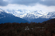 snow capped mountains in the Pyrenees near Andora seen from the French side