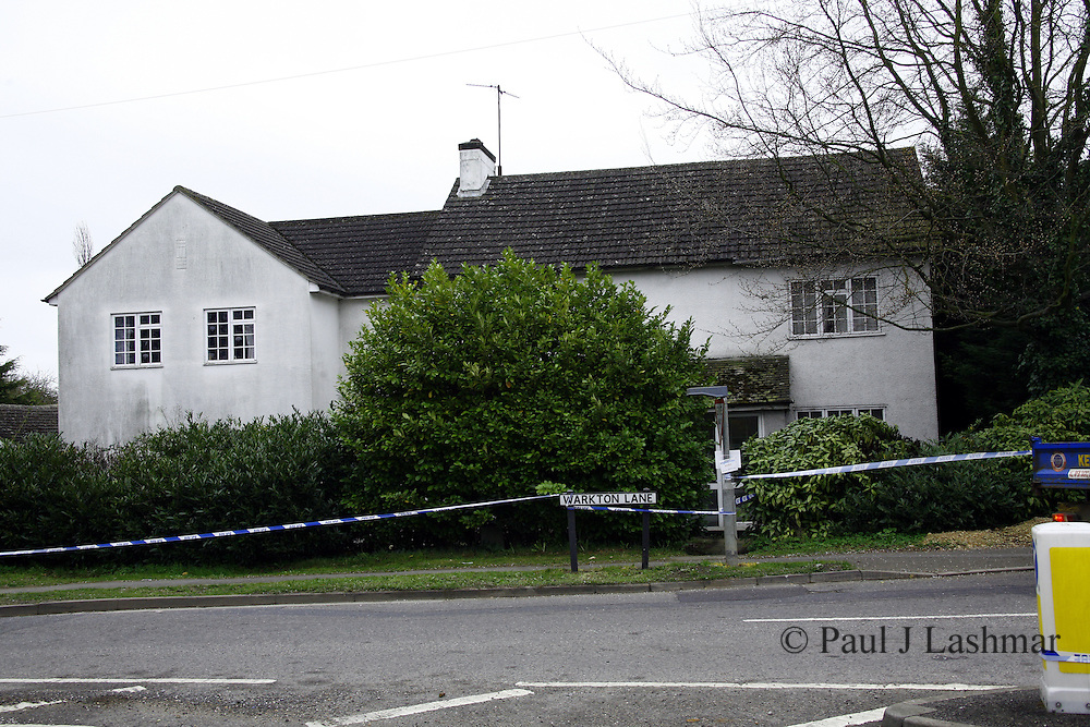 Scene of an incident on Warkton Lane, Barton Seagrave Kettering, northamptonshire..Police called along with bomb Disposal team on 31st March 2011