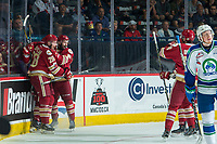 REGINA, SK - MAY 19: Olivier Galipeau #26 and Samuel Asselin #28 of Acadie-Bathurst Titan celebrate a first period goal against the Swift Current Broncos at the Brandt Centre on May 19, 2018 in Regina, Canada. (Photo by Marissa Baecker/CHL Images)