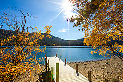"""Donner Lake in Autumn 12"" - Photograph of yellow fall foliage at a dock on Donner Lake in Truckee, California."