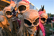 A set of scary skulls on a stall in Glastonbury festival.