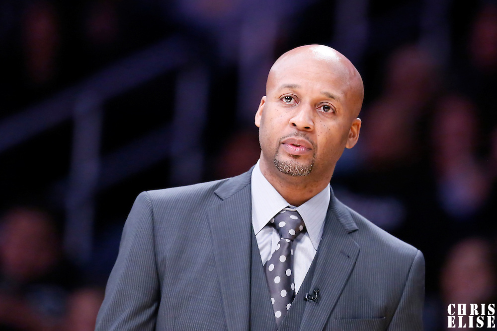 10 February 2015: Denver Nuggets head coach Brian Shaw is seen during the Denver Nuggets 106-96 victory over the Los Angeles Lakers, at the Staples Center, Los Angeles, California, USA.