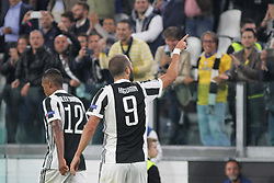 September 27, 2017 - Turin, Piedmont, Italy - Gonzalo Higuain (Juventus FC) celebrates after scoring during the UEFA Champions League (Group D) football match between Juventus FC and Olympiakos FC  at Allianz Stadium on 27 September, 2017 in Turin, Italy. .Juventus won 2-0 over Olympiakos. (Credit Image: © Massimiliano Ferraro/NurPhoto via ZUMA Press)