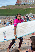 Alice Lemoigne (FRA) winner of the Ladies' Longboard Pro Final of Boardmasters 2019 at Fistral Beach, Newquay, Cornwall, United Kingdom on 11 August 2019.