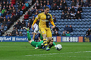 Fulham striker Ross McCormack puts Fulham 1-0 up during the Sky Bet Championship match between Preston North End and Fulham at Deepdale, Preston, England on 5 April 2016. Photo by Pete Burns.