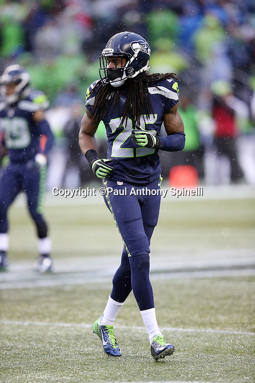Seattle Seahawks cornerback Richard Sherman (25) gets set for the next play during the 2015 NFL week 16 regular season football game against the St. Louis Rams on Sunday, Dec. 27, 2015 in Seattle. The Rams won the game 23-17. (©Paul Anthony Spinelli)