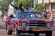 Aug 3, 2019; Canton, OH, USA; Ed Reed (left) and presenter and father Edward Reed Sr. during the Pro Football Hall of Fame Grand Parade on Cleveland Ave. in Downtown Canton. (Robin Alam/Image of Sport)