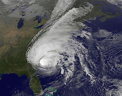 October 8, 2016 - Atlantic Ocean, United States - View of powerful Hurricane Matthew from the NOAA GOES-east satellite as it heads up the coast past Georgia October 8, 2016 in the Atlantic Ocean. The storm brought tropical storm-force winds, heavy rain, and dangerous surf to the East Coast of the United States. (Credit Image: © Noaa/Planet Pix via ZUMA Wire)