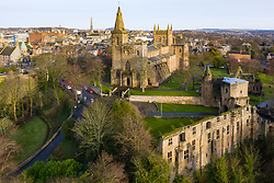 Aerial view of Dunfermlne Abbey and Palace,  Dunfermline, Fife, Scotland, UK
