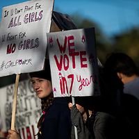 SAN FRANCISCO, CA - JANUARY 20, 2018: (L to R) Alexandra Goumas, 11, and June Wolbach, 11, of San Francisco, California display signs during the Women's March in San Francisco, California on January 20, 2018. (Photo by Philip Pacheco)