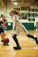 Rice's Lizzy Lyman (22) drives to the hoop during the girls basketball game between the Burlington Sea Horses and the Rice Green knights at Rice Memorial high school on Thursday night February 18, 2016 in South Burlington. (BRIAN JENKINS/for the FREE PRESS)